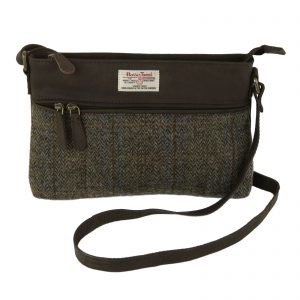 Harris Tweed Carloway Brown Handbag & Leather Trim