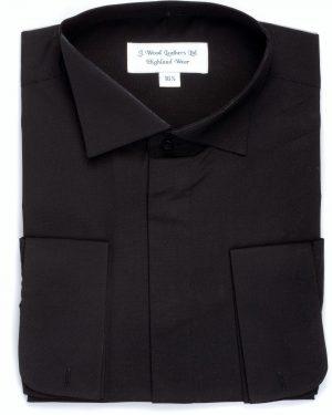 Splayed Victorian collar shirt BLACK