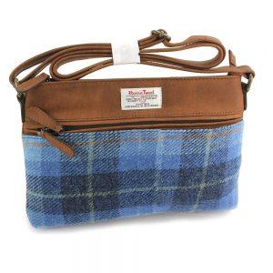 Harris Tweed Castlebay Blue Handbag & Leather Trim