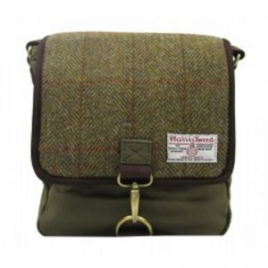 Harris Tweed Crossover Bag Wool Green contemporary design