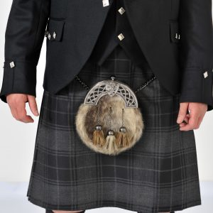 8 Yard Grey Highlander Wool Kilt